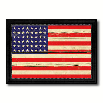 48stars Military Flag Vintage Canvas Print with Black Picture Frame Home Decor Wall Art Decoration Gift Ideas