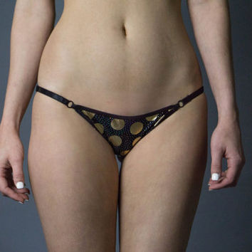 Polka Moon String Panties, Black Polka Dot Panties, Spandex Panties, Black Panties, Black and Gold Panties, Moon Print Panties