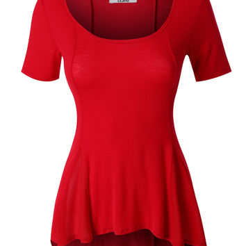 LE3NO Womens Lightweight Short Sleeve Scoop Neck Peplum Top