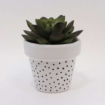 Terracotta Pot, Succulent Planter, Cute Planter, Small Pot, White Planter, Air Plant Holder, Indoor Planter, Polka Dot Planter, Black