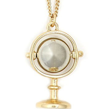 Globe Necklace Golden Tone Blank Spinning Orb Pendant NV61 Fashion Jewelry