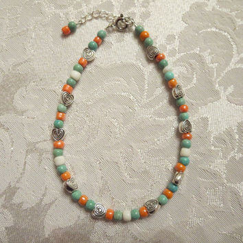 Beaded Ankle Bracelet Light Turquoise Green, Coral, White, Silver Heart Beach Anklet Summertime Jewelry Suntan Beachy