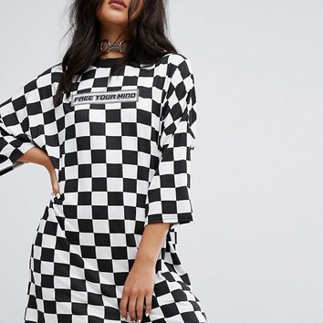 The Ragged Priest Free Your Mind Oversized T-Shirt Dress In Checkerboard at asos.com