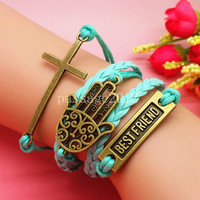 Hamsa Hand Cross Best Friend Leather Bracelet