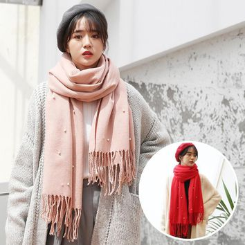 2018 Winter Scarf for Ladies Cashmere Scarves Bandana Women Cotton Scarf Shawls With Pearl Long Blanket Poncho poncho Stoles