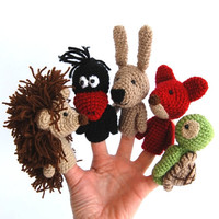 5 finger puppet birthday party crocheted hedgehog crow bunny or rabbit fox turtle spring amigurumi woodland handmade animals, tiny amigurumi