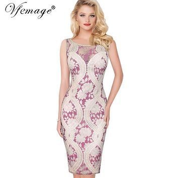 Vfemage Womens Elegant Sexy See-Through Contrast Lace Casual Party Evening Mother of Bride Special Occasion Bodycon Dress 6859