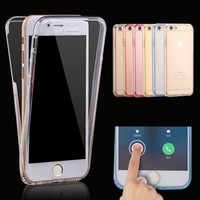 For iPhone 7 6s Cases Protect Transparent TPU Silicone Flexible Soft full Body Protective Clear Case Cover for 6 7 Plus 5 5s 5SE