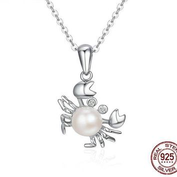 925 Sterling Silver Crab Cancer Pearl Dangle Pendants Necklace