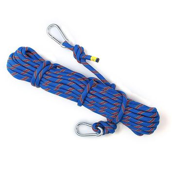 15M Outdoor Climbing Rope Cord String Safety Lifeline Escape Diameter 8MM 49.2FT Camping Hiking Paracord