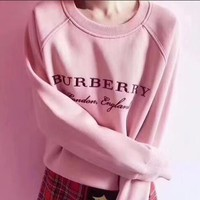Burberry Stylish Women Casual Embroidery Print Pink Round Collar Pullover Top Sweater Sweatshirt
