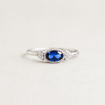 Delicate Oval Ring - Silver + Sapphire