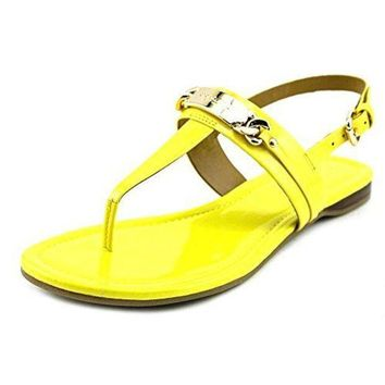 CREY3DS Coach Women's Caterine Patent T Strap Sandals Yellow (7)
