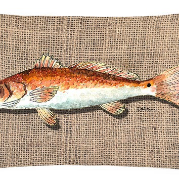 Red Fish   Canvas Fabric Decorative Pillow