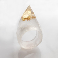 Clear Resin Spike Ring With Gold Metal Flake