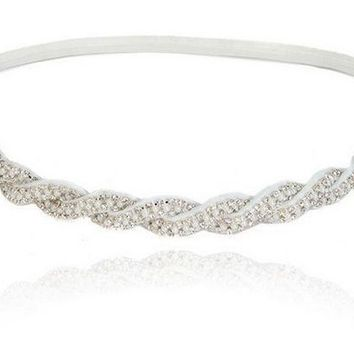 Women Girls Bohemian Sweet Vintage Crystal Rhinestone White Beads Braided Knitted Elastic Headband Hair Accessories
