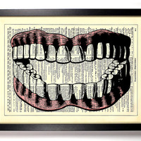 Teeth and Gums Repurposed Book Upcycled Dictionary Art Vintage Book Print Recycled Vintage Dictionary Page Buy 2 Get 1 FREE