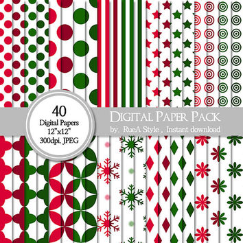 "SALE, 40 Digital Paper Pack, Dot, christmas, red, green, snow, Scrapbooking, Paper goods,  Instant Download - 12""x12"", 300DPI - JPG Format"