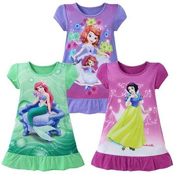 4-10Y Mermaid Girls Princess Ariel Dress Cartoon Summer Short Sleeve Party Snow White Sofia Kids Dress Up Costume Fantasy Dress