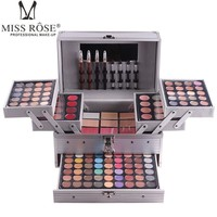 Brand MISS ROSE cosmetic case makeup set of matte shimmer eye shadow,concealer,lipgloss,blush powder,eyebrow,lip eye liner pen