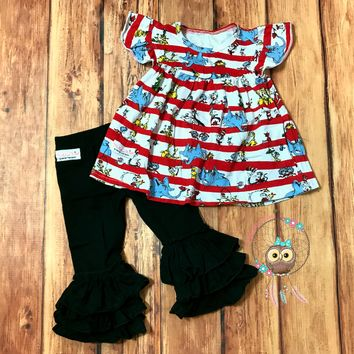 RTS!! Madeline Kate Dr. Seuss Collection. Raglan, Baby Doll Dress, Or 2 Pc Set! VERY LIMITED SUPPLY!!!