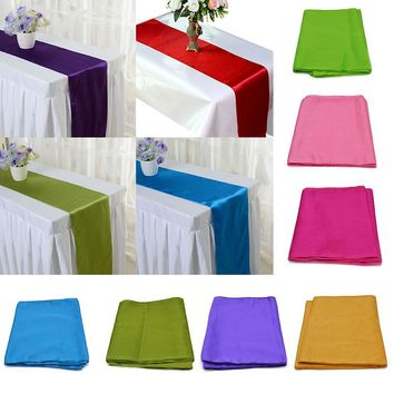 275cm*30cm 25 Colors Solid Color Satin Tablecloth Table Runners DIY Handmade Chair Sash Bow Cove Wedding Decor Party Supplies 6Z