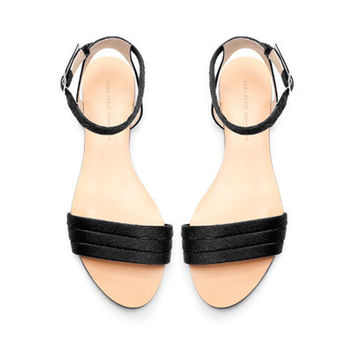 SILK SATIN ANKLE STRAP FLAT SANDALS - Flat sandals - Shoes - Woman - ZARA United States