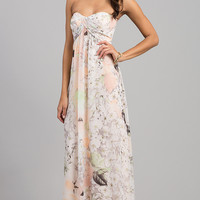 Floor Length Strapless Sweetheart Print Dress
