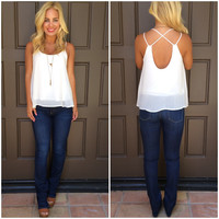 Cross The Line Chiffon Tank - WHITE