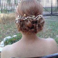 Bridal gold greek  with peachy pink pearls headpiece,wedding hair vine,hair piece,bridal halo,headdress