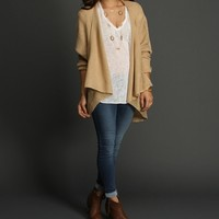 Sale-natural Drape Front Cardigan