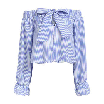 2016 NEW Summer Fashion Trend Women's Smock Top Off Shoulder Cute Brief Ruffles Girl's PETITE Structured Bardot Top Short Blouse