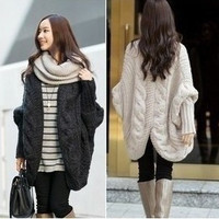 Womens Knitted Cardigan Batwing Outwear Lady Casual Loose Sweater Coat Tops = 1920296644