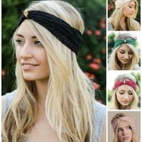 Turban Lace  Boho Headband in Multiple Colors