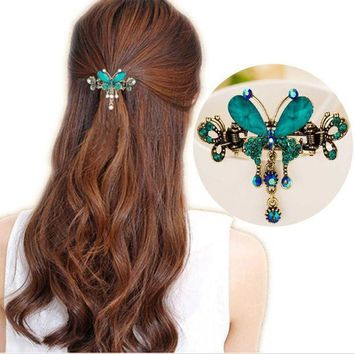 CREYCI7 Tomtosh New Vintage Women Elegant gem Butterfly Flower Hairpins Hair Barrette Clip Crystal Butterfly Bow Hair Clip Hair
