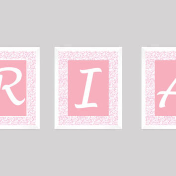 Personalized Nursery Letters, Custom Prints, Pink with Lace, Custom Names, Art Prints, Nursery Decor, Personalized, Kids Wall Letters 8x10