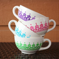 Colorful Moroccan Tea - Cream Teacup with Moroccan Henna Design Set of 4