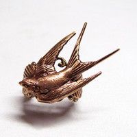 Forest Sparrow Leaf Ring by ranaway on Etsy