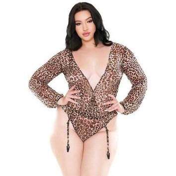 Curve Shiva Long Sleeve Animal Print Teddy w/Detachable Garters Leopard 1X/2X