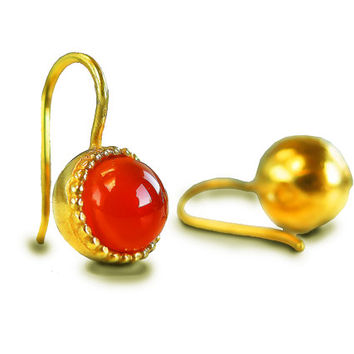 Carnelian Earrings, Orange Gemstone Earrings, Gold Drop Earrings, Small Drop Earrings, Carnelian Jewelry, Orange Earrings, July Birthstone