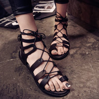 Womens Summer Thong Flip Flops Flat Lace Up Cross Strappy Gladiator Roma Sandals