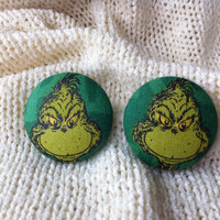 Dr. Suess's The Grinch Fabric Button Earrings, Covered Button Earrings, Christmas Earrings, Grinch Stole Xmas, Stud Earrings