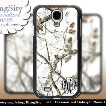 Snow Camo Monogram Galaxy S4 case S5 RealTree Camo White Deer Personalized Samsung Galaxy S3 Case Note 2 3 Cover Country Girl