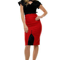 SALE! 1950's STOP STARING Style Red & Black VAMP Wiggle Dress- S - 3X - Unique Vintage - Bridesmaid & Wedding Dresses