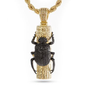 The 14K Gold Egyptian Scarab Necklace (Two Tone)