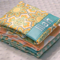 Personalized Burp Cloth Set - Tangerine and Aqua Medallions Chevron and Polka Dots