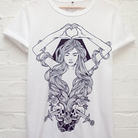 Abandon Ship Apparel Heart In Hand Tee in White