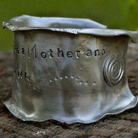 "Custom Mother / Daughter Gift, Silver Cuff Bracelet, ""The Love Between' Flared Edges, Handstamped Aluminum Cuff Bracelet"