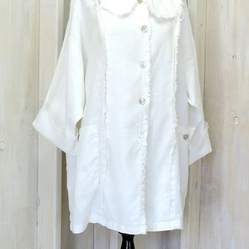 Loose fit linen dress / long cardigan / lagenlook / white linen summer dress / size S M L