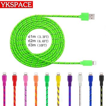 1M 2M 3M Fabric Braided Colorful Data Cable 8 pin adapter USB Charger Cables for iPhone 5 5S 6 6S plus 7 ipad Air IOS Lightning